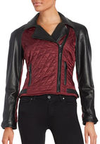 Vince Camuto Leather Contrast Sleeve Moto Jacket
