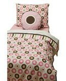 Bacati Mod Dots/str Pink/Choc 4 Toddler Bedding Set