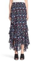 Tanya Taylor 'Rita' Floral Print Silk Chiffon Skirt