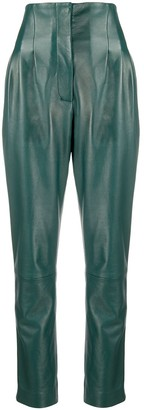 Alberta Ferretti High-Waist Leather Trousers