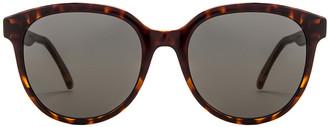 Saint Laurent Round Sunglasses in Havana & Grey   FWRD