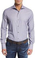 Neiman Marcus Micro-Stripe Dobby Sport Shirt, Midnight