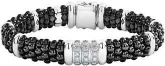 Lagos Black Caviar Diamond Link Bracelet
