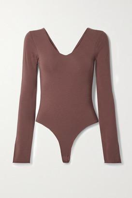 Skin + Net Sustain Diana Organic Pima Cotton-blend Jersey Thong Bodysuit - Brown