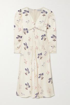 Self-Portrait Crystal-embellished Floral-print Satin Midi Dress - Cream