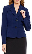 Kasper Notch Collar 2-Button Solid Stretch Crepe Blazer