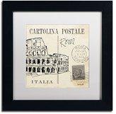 Trademark Fine Art Postcard Sketches IV Artwork Anne Tavoletti in White Matte and Black Frame, 11 by 11-Inch