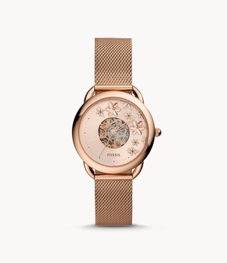 Fossil Tailor Automatic Rose Gold-Tone Stainless Steel Mesh Watch