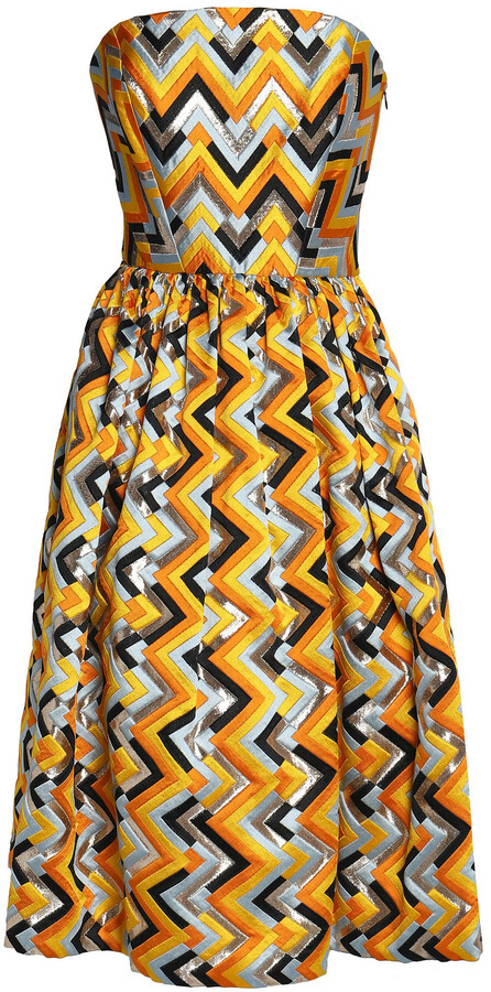 Milly Pleated Metallic Jacquard Dress