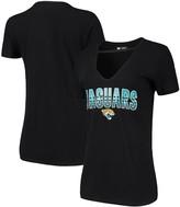 New Era Women's Black Jacksonville Jaguars Gradient Glitter Choker V-Neck T-Shirt