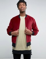 Asos Velvet Bomber With Ruching Detail In Burgundy