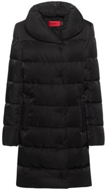 HUGO BOSS Long Padded Jacket In Recycled Material - Black