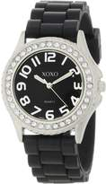 XOXO Women's Dial Crystal Bezel Boyfriend Rubber Strap Watch XO3271