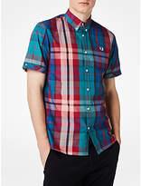 Fred Perry Short Sleeve Bright Madras Plaid Shirt, Chalk