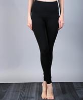 Lily Women's Leggings BLACK - Black & Gray Herringbone Tummy-Control Band Leggings - Women