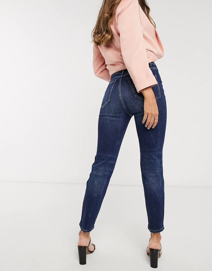 Thumbnail for your product : Stradivarius mom jean with stretch in blue