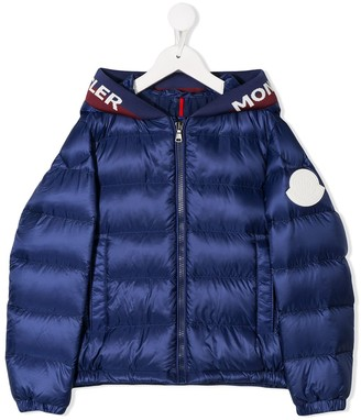 Moncler Enfant Logo Hooded Puffer Jacket