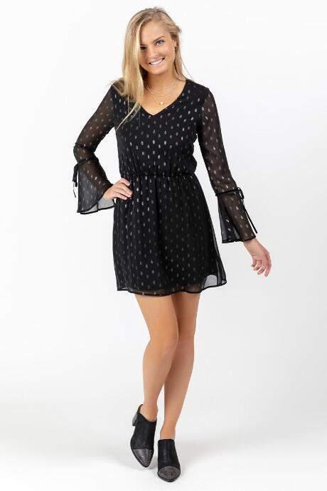 francesca's Paloma Sheer Sleeve Polka Dot Dress - Black
