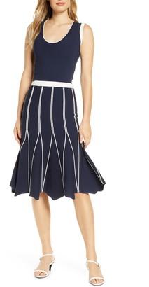 Adelyn Rae Melanie Contrast Pleat Midi Dress