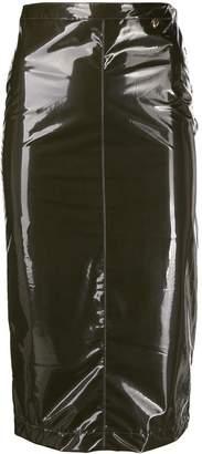 Twin-Set glossy effect pencil skirt