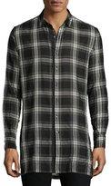 Ovadia & Sons Plaid Woven Sport Shirt, White/Black
