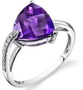 Ice 3 CT TW Amethyst 14K White Gold Fashion Ring with Diamond Accents