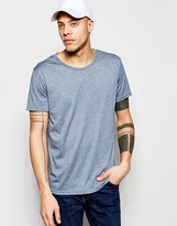 Weekday Alex Wide Neck T-Shirt in Blue Marl