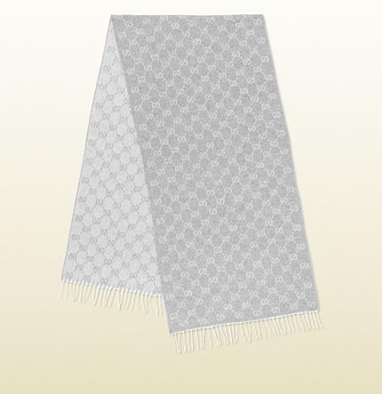 Gucci Gg Jacquard Extra Fine Silk Scarf