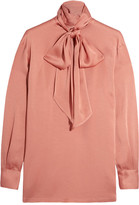 Lanvin Pussy-bow Charmeuse Blouse - Antique rose