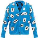 Amiri Card-intarsia Cashmere-blend Cardigan - Mens - Blue