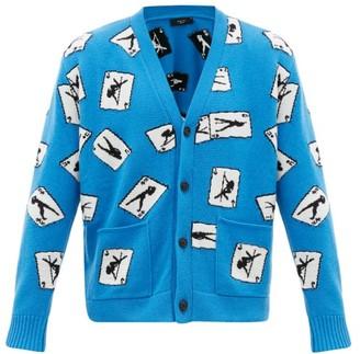 Amiri Card-intarsia Cashmere-blend Cardigan - Mens - Blue