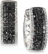Effy Caviar by Black and White Diamond Hoop Earrings (1-1/3 ct. t.w.) in 14k White Gold