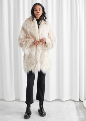 And other stories Oversized Shaggy Faux Fur Coat