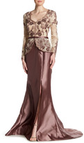 Terani Couture Long Sleeve Lace Bodice Gown
