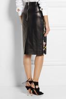 Erdem Aysha floral-print leather pencil skirt