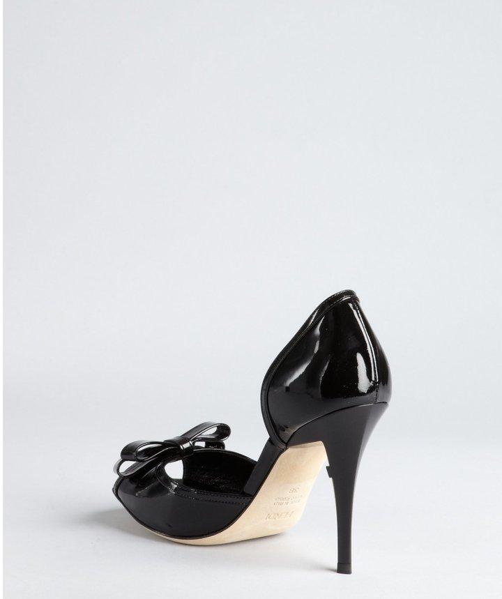 Fendi Black Patent Leather Bow Peep Toe Pumps