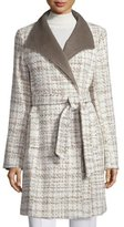 Ellen Tracy Novelty Wool Wrap Coat, Taupe