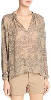 Vince Vintage Floral Pleat-Neck Silk Blouse, Natural