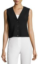 Akris Pensa Button-Front Cropped Vest, Navy