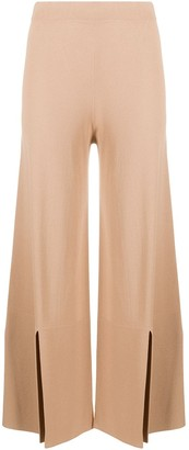 D-Exterior Slit Details Knitted Trousers