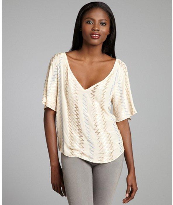 Chelsea Flower blush silk beaded chevron v-neck short sleeve blouse