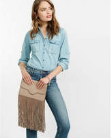 Express Genuine Suede Fringe Clutch