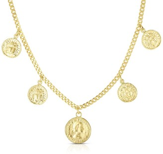 Sphera Milano 18K Yellow Gold Plated Sterling Silver Coin Charm Necklace