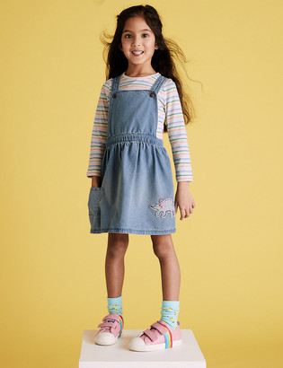 Marks and Spencer 2 Piece Denim Dinosaur Pinafore Outfit