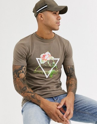 Asos Design DESIGN skinny fit t-shirt with rose print and neon text-Brown