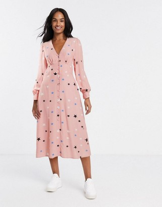 Nobody's Child button front midi dress in star print