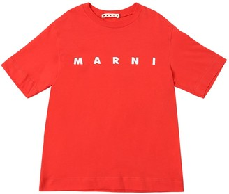 Marni Junior Logo Printed Cotton Jersey T-Shirt