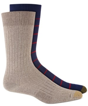 Gold Toe Men's 2-Pk. Textured Stripes Crew Socks