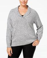 Karen Scott Plus Size Marled Shawl-Collar Sweater, Only at Macy's