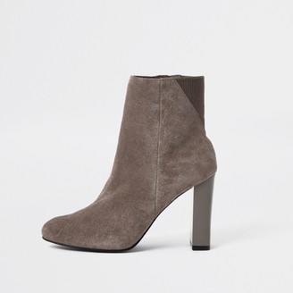 River Island Womens Grey smart heeled ankle boot